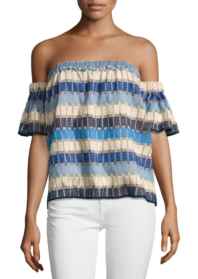 Milly Marina Off-the-Shoulder Netting Top