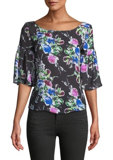 Milly Marni Rose-Print Georgette Top