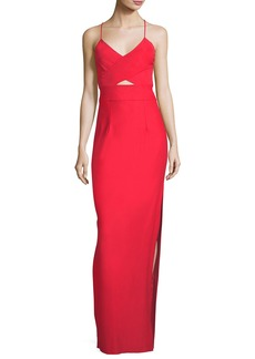 Milly McKenna Tech Stretch V-Neck Strappy-Back Evening Gown