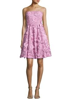 Milly Meg Strapless 3D Floral Cocktail Dress