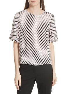 Milly Melinda Dot Puff Sleeve Silk Blouse