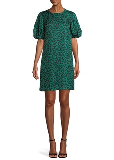 Milly Melinda Short-Sleeve Leopard-Print Silk Shift Dress