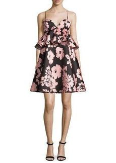 Milly Melody Floral-Print Peplum-Waist Babydoll Dress