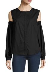 Milly Mica Cold-Shoulder Round-Neck Poplin Shirt
