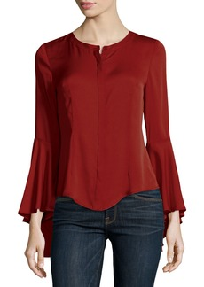 Milly Michelle Bell-Sleeve Stretch-Silk Blouse