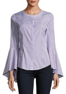 Milly Michelle Bell-Sleeve Striped Shirting Blouse