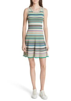 Milly Microstripe Knit Fit & Flare Dress