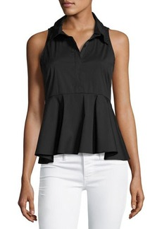 Milly Mikala Sleeveless Stretch-Poplin Peplum Top
