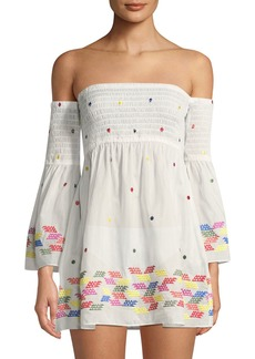 Milly Milly Smocked Embroidered Coverup Dress
