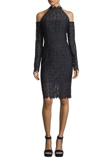 Milly Mira Cold-Shoulder Lace Sheath Cocktail Dress