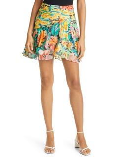 Milly Mira Garden Floral Print Silk Skirt