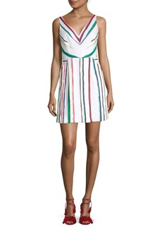 Milly Mitered Stripe Sheath Dress