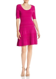 MILLY Mixed-Knit Fit and Flare Dress