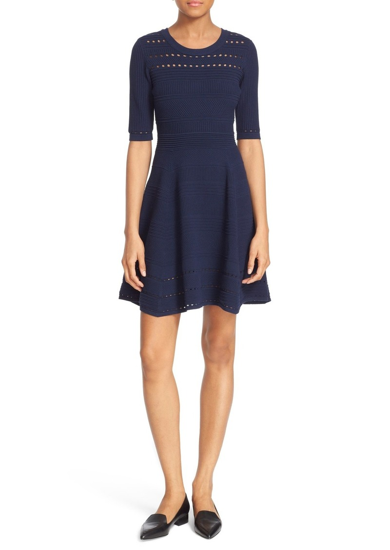 Milly Mixed Stitch Texture Knit Fit & Flare Dress