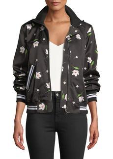 Milly Mock-Neck Floral-Print Long-Sleeve Bomber Jacket