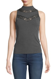 Milly Mock-Neck Sleeveless Lace-Inset Wool Shell