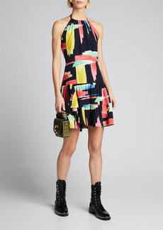 Milly Modern Brushstroke Print Tiered Halter Dress