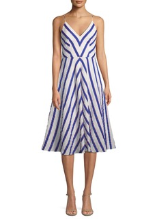 Milly Monroe Chevron Linen-Stretch Midi Dress