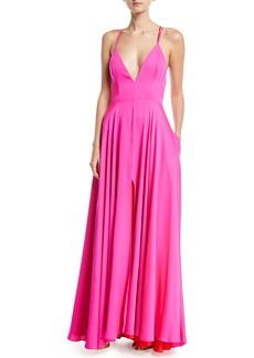 Milly Monroe Stretch-Silk Strappy Gown with Pockets