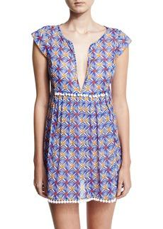 Milly Mosaic-Print Pompom Coverup Mini Dress