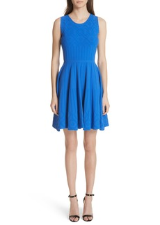 Milly Mosaic Texture Knit Fit & Flare Dress
