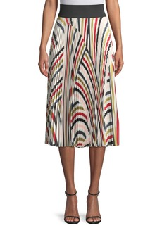Milly Multicolor Pleated Twill Skirt