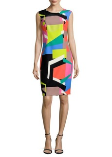 MILLY Multicolored Midi Sheath Dress