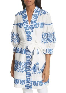 Milly Mykonos Embroidered Tie Waist Linen Dress