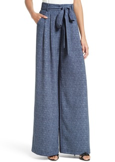 Milly Natalie Wide Leg Chambray Pants