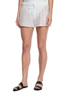 Milly Netting Gathered Crochet Coverup Shorts