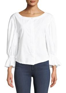 Milly Nickie Shirting Cotton Top