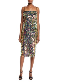 Milly Nickie Strapless Matchstick Paillette Midi Cocktail Dress
