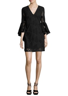 Milly Nicole Bell-Sleeve Embroidered Cotton Shift Dress