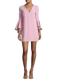 Milly Nicole Bell-Sleeve Italian Cady Minidress
