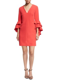 Milly Nicole Double Ruffled Bell-Sleeve Cocktail Dress