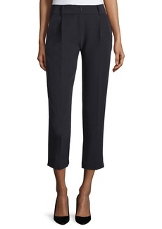 Milly Nicole Pleated-Front Cropped Pants