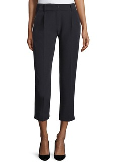 Milly Nicole Pleated-Front Cropped Pants  Black