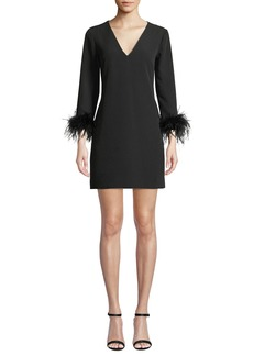 Milly Nicole V-Neck Long-Sleeve Feather-Cuffs A-Line Mini Dress