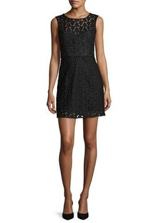 Milly Nina Sleeveless Floral-Embroidered Lace Dress