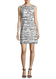 Milly Nina Sleeveless Floral Striped Burnout Dress  Black