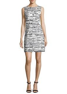 Milly Nina Sleeveless Floral Striped Burnout Dress