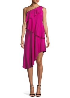 Milly Nora One-Shoulder Asymmetric Ruffled Tiered Stretch-Silk Dress