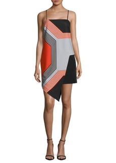 Octagon-Print Asymmetrical Dress