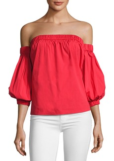 Milly Off-the-Shoulder Cotton Poplin Blouse
