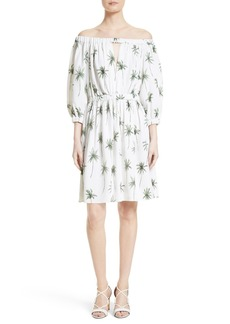Milly Off the Shoulder Palm Tree Print Dress