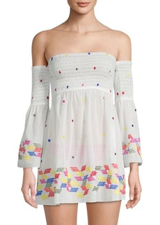 Milly Off-The-Shoulder Rainbow Smocked Top