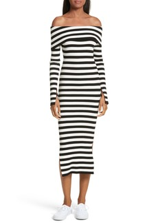 Milly Off the Shoulder Ribbed Maxi Dress