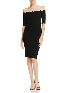 MILLY Off-the-Shoulder Scalloped Dress