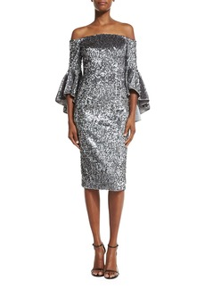Milly Off-the-Shoulder Sequined Cocktail Dress