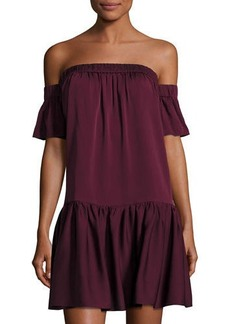 Milly Off-the-Shoulder Silk Shift Dress